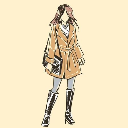 Illustration for Sketch of beautiful slim elegant woman in fashion summer clothes  with female  handbag. Contour silhouette. Vector illustration. Scribble hand drawing by black lines, freehand. - Royalty Free Image