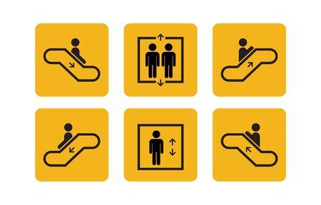 Ilustración de Public Services Elevator and Escalator set icons with humans. Lift or elevator up and down symbols. Vector illustration. - Imagen libre de derechos