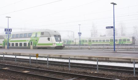 Kouvola, Finland 31 March 2016 - Kouvola railway station in fog.