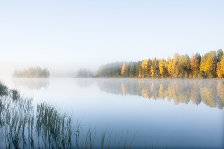Photo pour Beautiful autumn morning landscape of Kymijoki river waters in fog. Finland, Kymenlaakso, Kouvola - image libre de droit