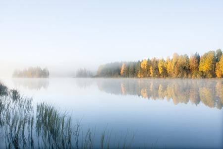 Foto de Beautiful autumn morning landscape of Kymijoki river waters in fog. Finland, Kymenlaakso, Kouvola - Imagen libre de derechos