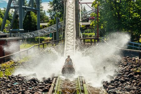 Photo for Fun water ride Log river in amusement park at summer - Royalty Free Image