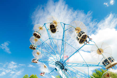 Photo for Kouvola, Finland - 14 July 2020: Ride Skyride in motion in amusement park Tykkimaki at sunny day - Royalty Free Image