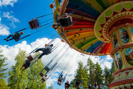 Photo for Kouvola, Finland - 14 July 2020: Ride Swing Carousel in amusement park Tykkimaki at summer sunny day - Royalty Free Image