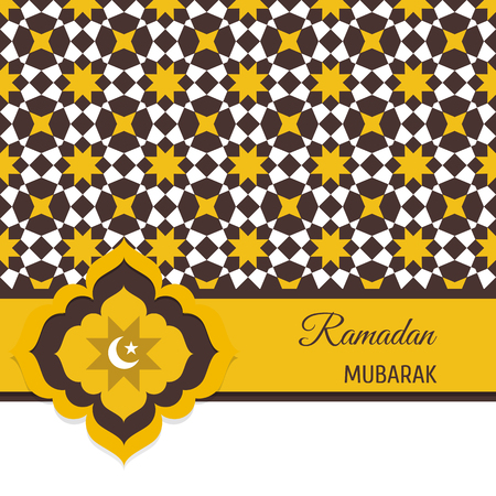 Ramadan Mubarak greeting card, invitation with Muslim symbol.