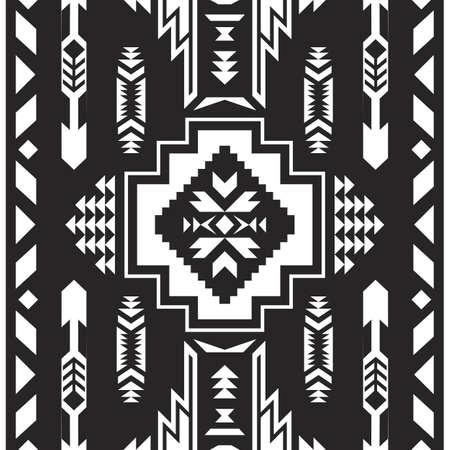 Illustration pour Native American Southwest, Aztec, Navajo seamless pattern. Tribal geometric print. Ethnic design wallpaper, fabric, cover, textile, rug, blanket. - image libre de droit