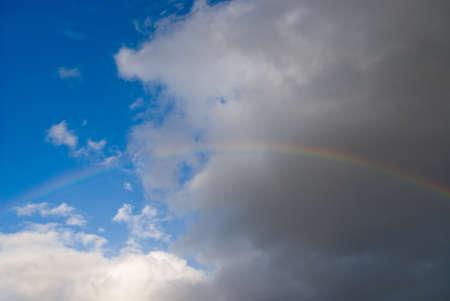 A rainbow over a dark sky after the storm