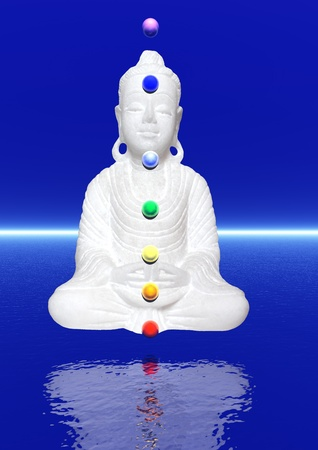 Peaceful white buddha in meditation upon the water and with colors chakra balls on his body