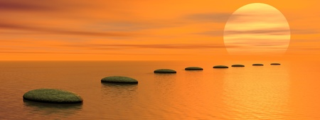 Grey stones steps upon the ocean going to the sun by sunset