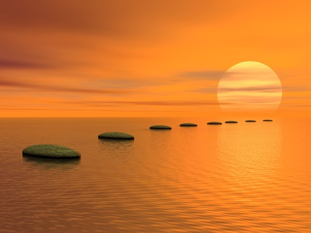 Photo pour Grey stones steps upon the ocean going to the sun by cloudy sunset - image libre de droit