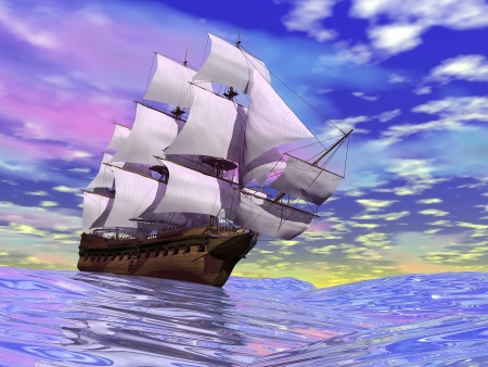 Close up of a beautiful detailed old merchant ship on the ocean by cloudy day