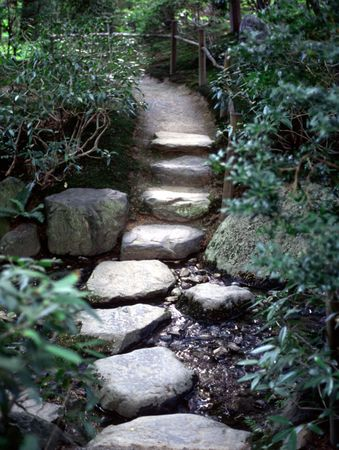 Zen path through a stream.