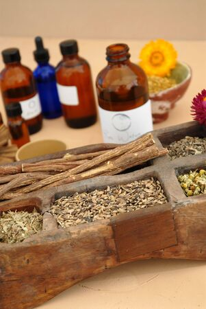 The holistic ingredients of Ayurveda and Herbalism including licorice root, milk thistle seeds, valerian root, chamomile, and tincture bottles.