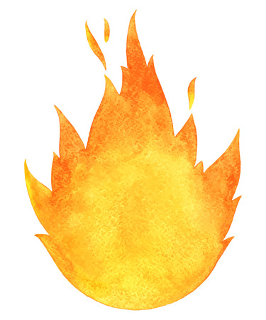 Watercolor vector fire. Tongues of flame with space for text. Hand drawn burning bonfire silhouette with sparks.