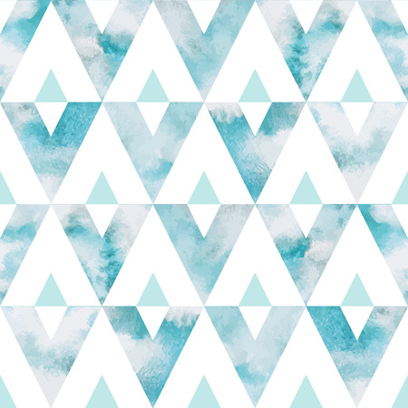 Cloudy sky triangles seamless vector pattern. Geometrical background. Watercolor heaven with clouds. Blue sky, shades of white. Painted backdrop. Fresco imitation.のイラスト素材