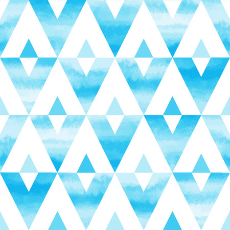 Sky blue watercolor triangles abstract seamless vector pattern. Hand drawn texture. Sky or heaven background.