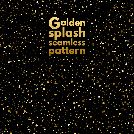 Gold splash or spangles seamless pattern. Shades of gold hand drawn spray texture. Golden blobs or uneven dots on black background endless template. Festive, birthday, party splatter background.
