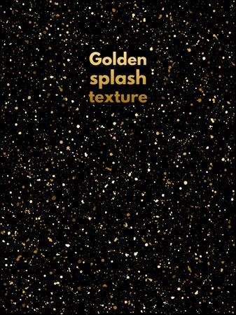 Golden splash or spangles texture. Shades of gold hand drawn spray background. Golden blobs, sparks or uneven dots template. Gold splatter background. Night party, celebration, birthday design.