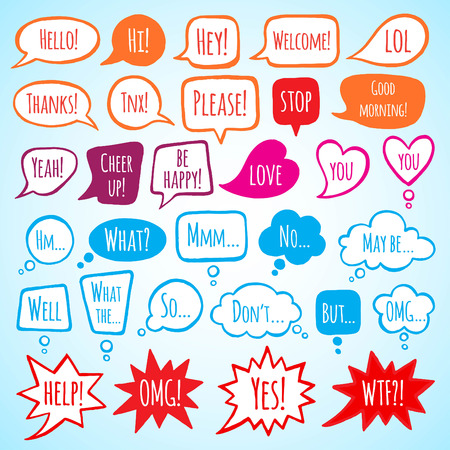 Illustration pour Collection of doodle style speech bubbles with lettering. Thank you, help, welcome, yes, no, stop words. Talking, speaking, screaming, thinking, dreaming bubbles. Colorful shapes with uneven edges. - image libre de droit