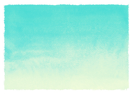 Watercolor gradient abstract background with rough, uneven edges. Mint green and yellow painted template. Summer, holiday backdrop. Vertical gradient fill. Hand drawn watercolour texture.