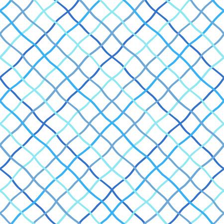 Ilustración de Deformed, warped, distorted, hand drawn, lattice, fishing net, trellis, grating texture, pattern. Navy blue sea, marine, seamless vector background. Mesh made of crossing wavy diagonal doodle stripes. - Imagen libre de derechos