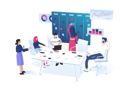 Illustration pour Agile methodology: SCRUM or Kanban for project management concept. Teamwork. Group of workers sitting around table and discussing near the task board with sticky notes.  Flat vector illustration.  - image libre de droit