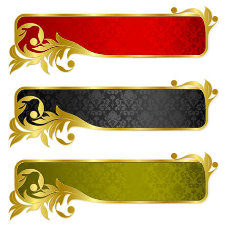 Illustration for Set from  banners with gold frame  - Royalty Free Image