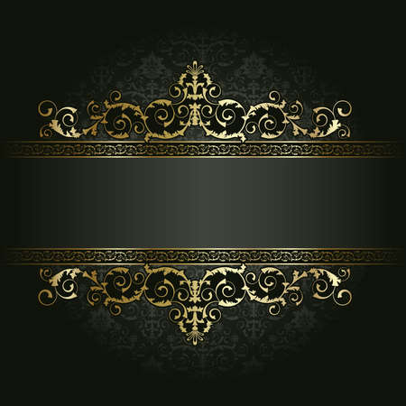 Illustration for Retro frame on the black floral background - Royalty Free Image