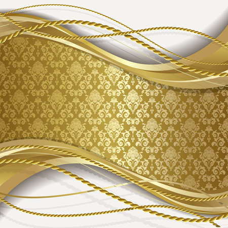 Illustration for White background with gold flowers and leaves - Royalty Free Image