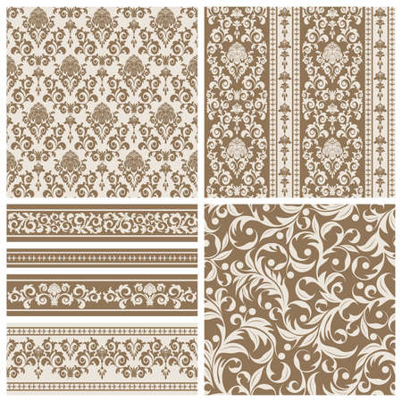 Set of seamless and borders from abstract beige plant(can be repeated and scaled in any size)