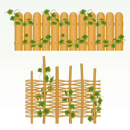 Illustration pour Border with  fence and grass green. (can be repeated and scaled in any size) - image libre de droit