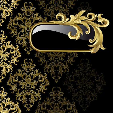 Illustration for Black background with  gold frame from abstract plant - Royalty Free Image