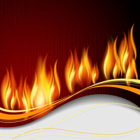 Background with flame and white wave.