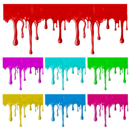 Border of paint drips of different colors. Mesh. Clipping Mask.(can be repeated and scaled in any size)