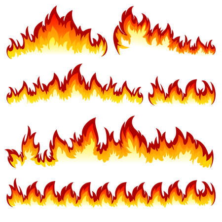 Flames of different shapes on a white background.
