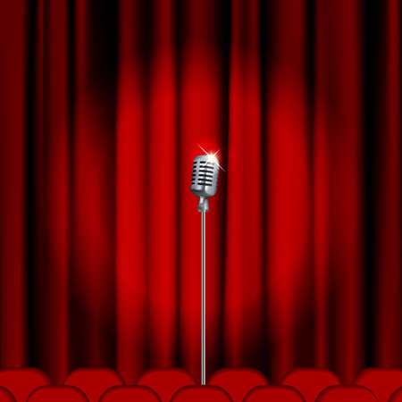 Illustration pour Theater stage  with microphone and red curtain. Clipping Mask. Mesh. - image libre de droit