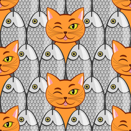 Seamless with fish and  cats(can be repeated and scaled in any size)