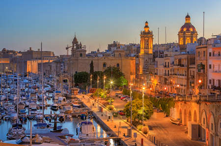 View to Grand Harbor from Birgu city at sunrise