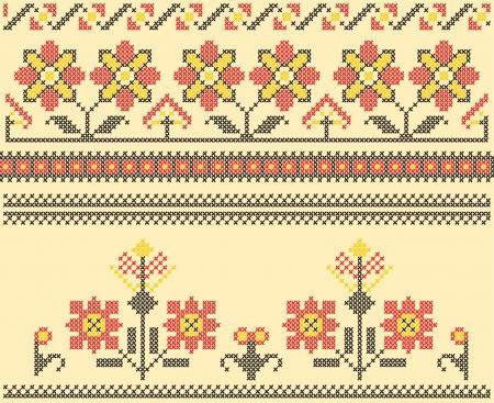 Sets of ethnic cross stitch romanian flourish pattern