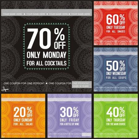 Set of color restaurants sale tickets
