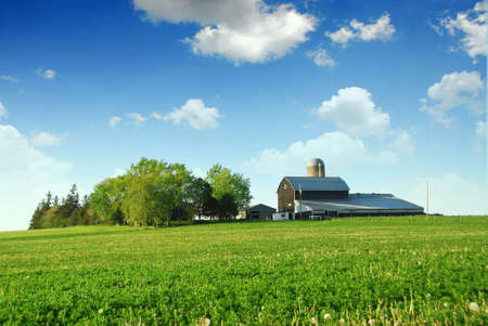 Farmhouse and barn among green fields