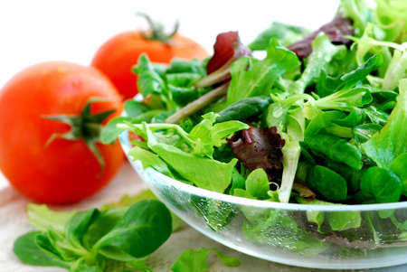 Fresh  greens salad and tomatoes close up