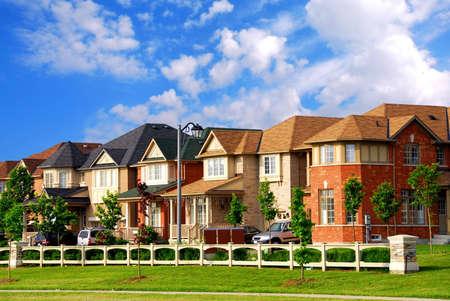 Row of new residential houses in suburban neighborhood