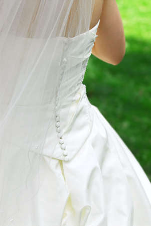 Bride in veil and her wedding gown outside