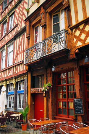Old medieval half-timbered houses in Rennes, France