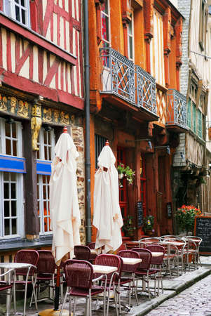 Old medieval half-timbered houses in Rennes, France.