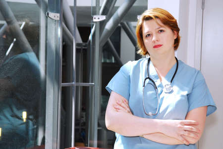 Portrait of a nurse in a hospital looking concerned