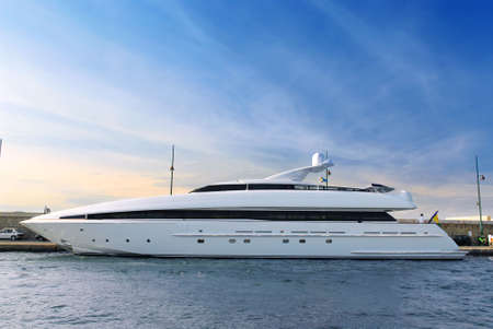 Large luxury yacht anchored at St. Tropez in French Riviera