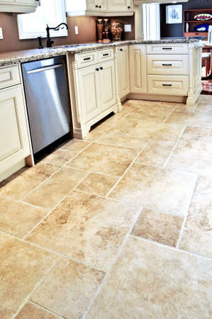 Ceramic tile floor in a modern luxury kitchen