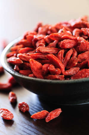 Full bowl of red dried goji berries